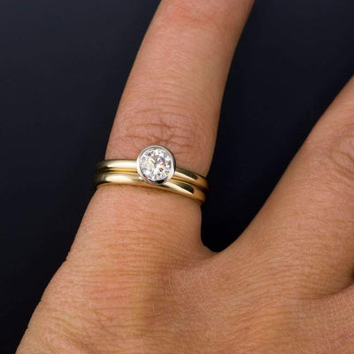 Narrow Domed Yellow or Rose Gold Wedding Band, 2-4mm Width