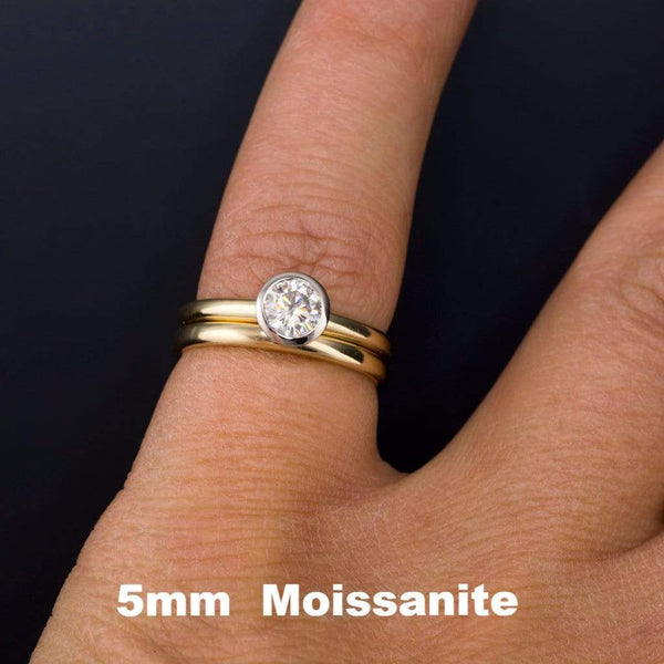 Mixed Metal Round Moissanite Bezel Gold Engagement Ring