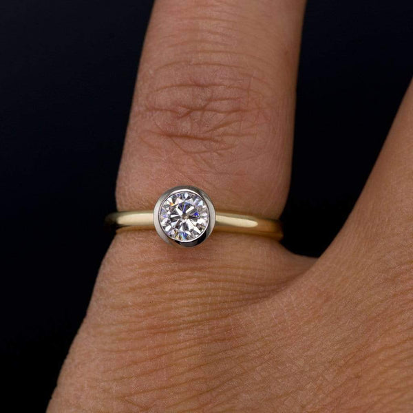 Mixed Metal Round Moissanite Engagement Ring