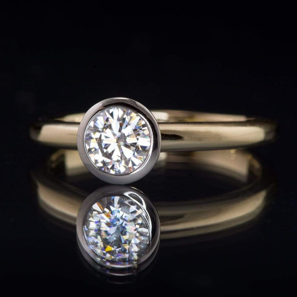 Mixed Metal Round Moissanite Bezel Gold Engagement Ring - by Nodeform