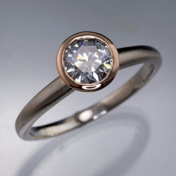 Round Gray Moissanite Mixed Metal Bezel Engagement Ring