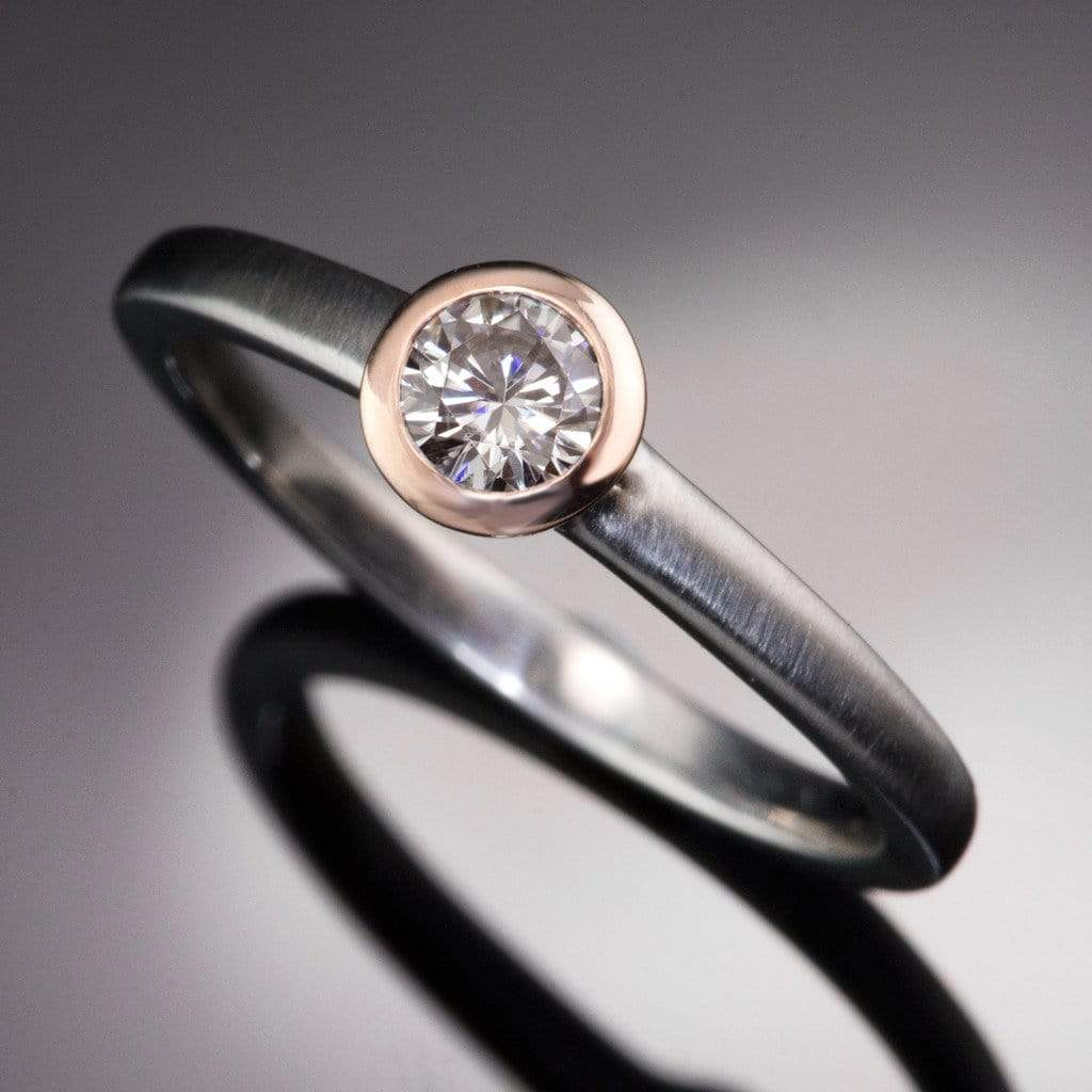 Mixed Metal Round Diamond Bezel Engagement Ring  By Nodeform