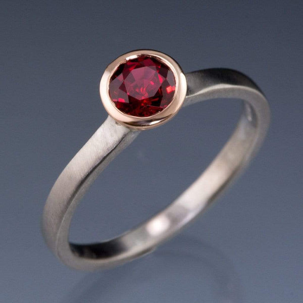 Mixed Metal Chatham Ruby Bezel Engagement Ring - by Nodeform