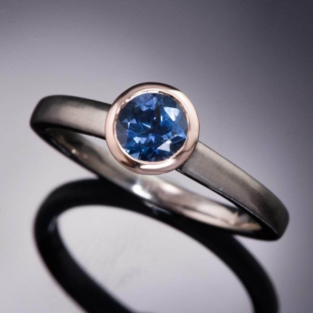 Mixed Metal Green/Blue Fair Trade Malawi Sapphire Engagement Ring - by Nodeform