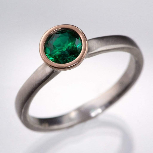 Mixed Metal Chatham Emerald Bezel Engagement Ring