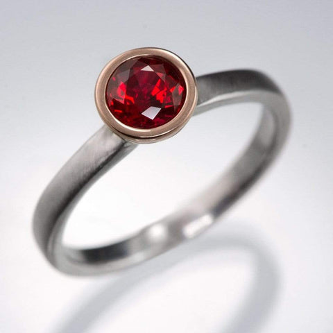 Mixed Metal Chatham Ruby Bezel Engagement Ring