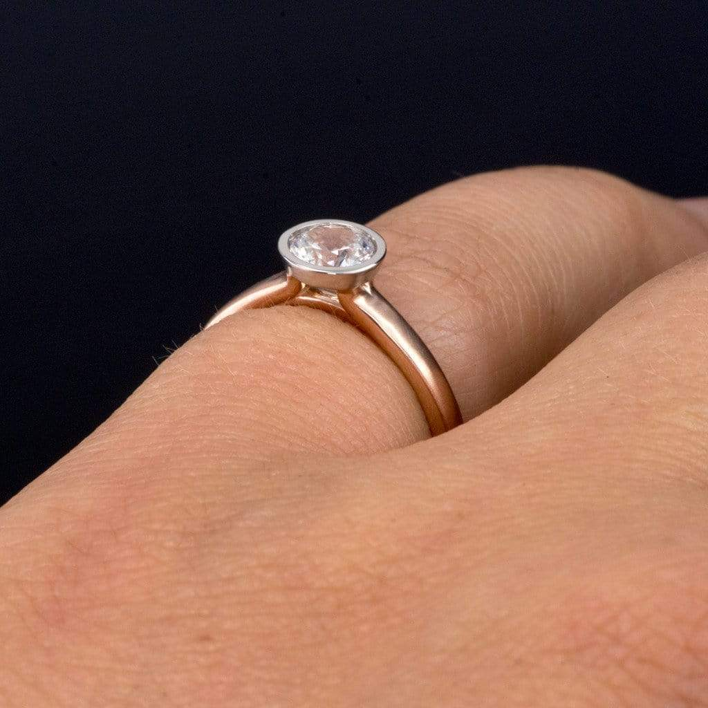 Mixed Metal White Sapphire Bezel Engagement Ring