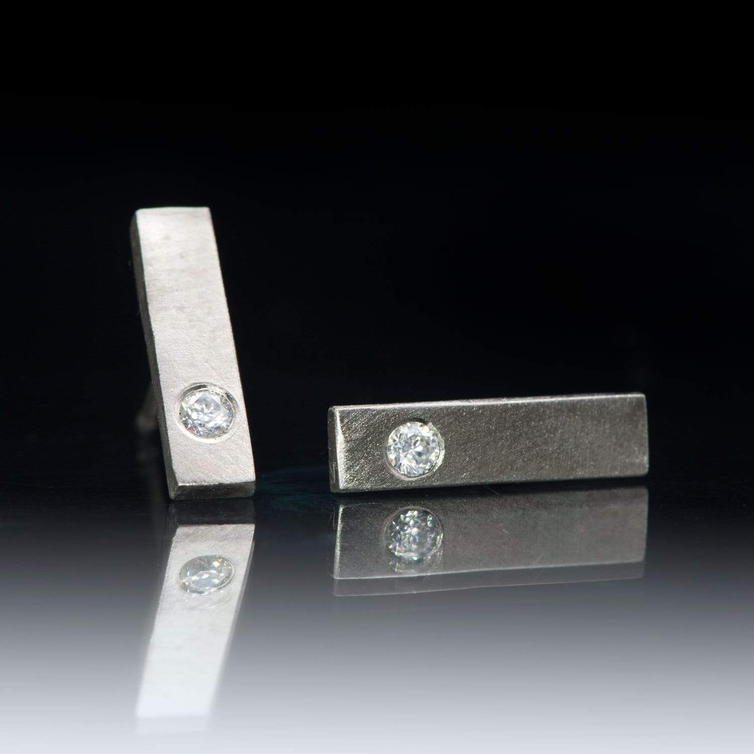 Palladium Bar Studs Earrings with Flush Set Moissanite, Ready to Ship
