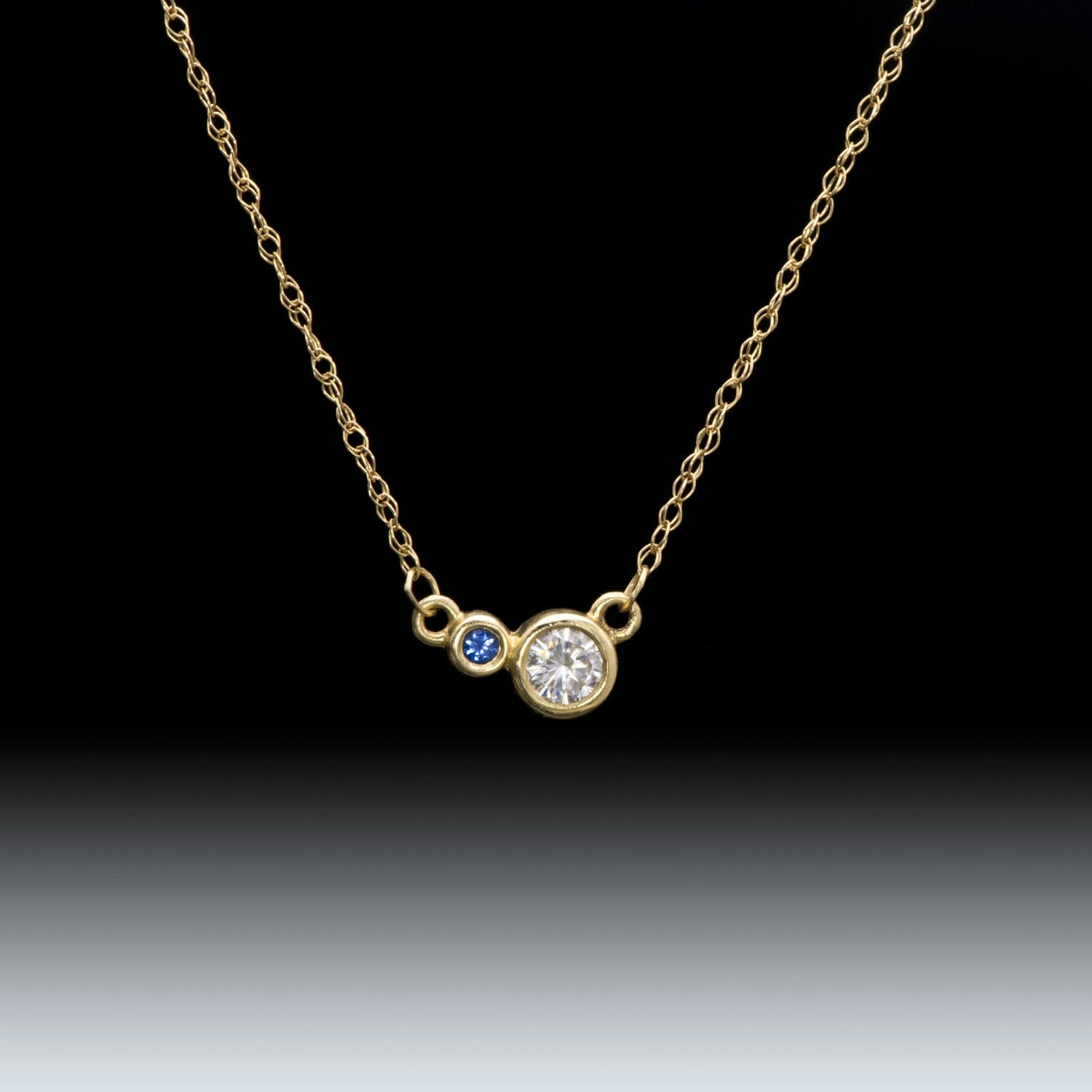 Moissanite & Ceylon Blue Sapphire 14k Yellow Gold Pendant Necklace, Ready to ship