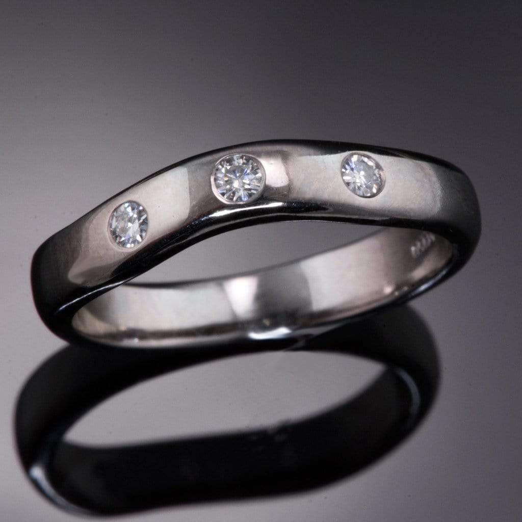 Moissanite Fitted Contoured Wedding Ring, Moissanite Shadow Band