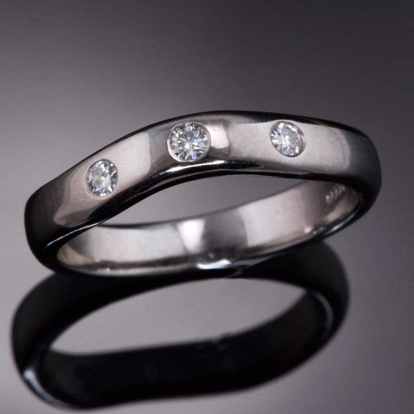 Moissanite Fitted Contoured Wedding Ring, Moissanite Shadow Band - by Nodeform