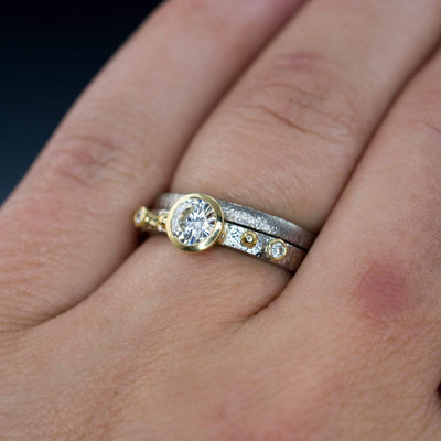 Bridal Set Round Moissanite & Diamonds in 18k Gold Accents Engagement Ring and Hammered Band - by Nodeform