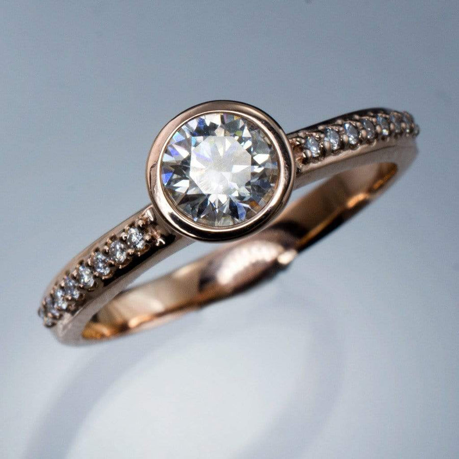 Moissanite Round Peekaboo Bezel Diamond Pave Engagement Ring - by Nodeform