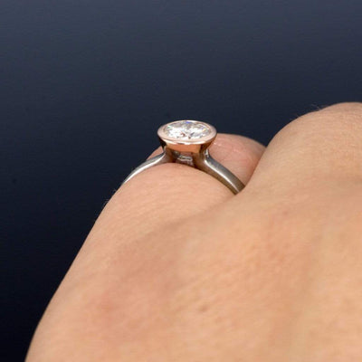 Round Gray Moissanite Mixed Metal Bezel Engagement Ring - by Nodeform