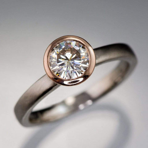 Mixed Metal Round Moissanite Bezel Engagement Ring