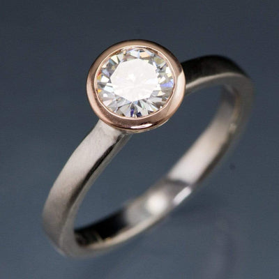 Mixed Metal Round Moissanite Bezel Set Engagement Ring - by Nodeform