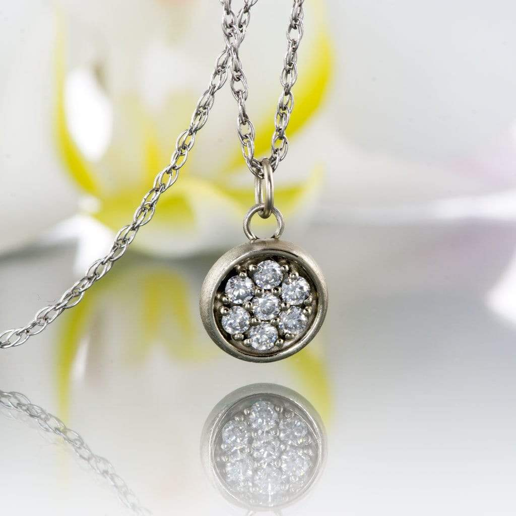 Round moissanite cluster gold pendant necklace aloadofball Images