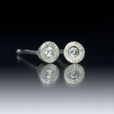 Moissanite Tiny Textured Sterling Silver Stud Earrings, Ready to Ship