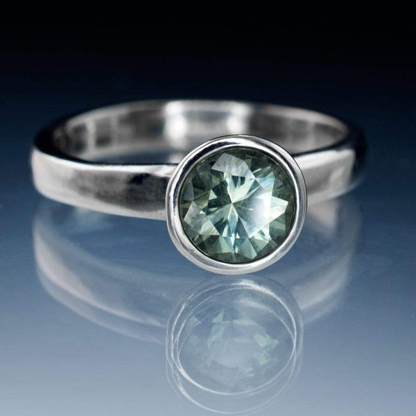 Blue to Green Eldorado Bar Montana Sapphire Bezel Engagement Ring - by Nodeform