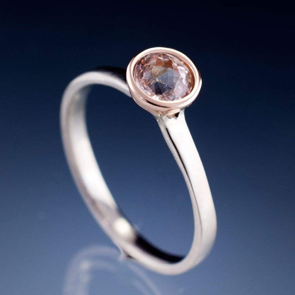 Mixed Metal Elevated Bezel Morganite Engagement Ring - by Nodeform