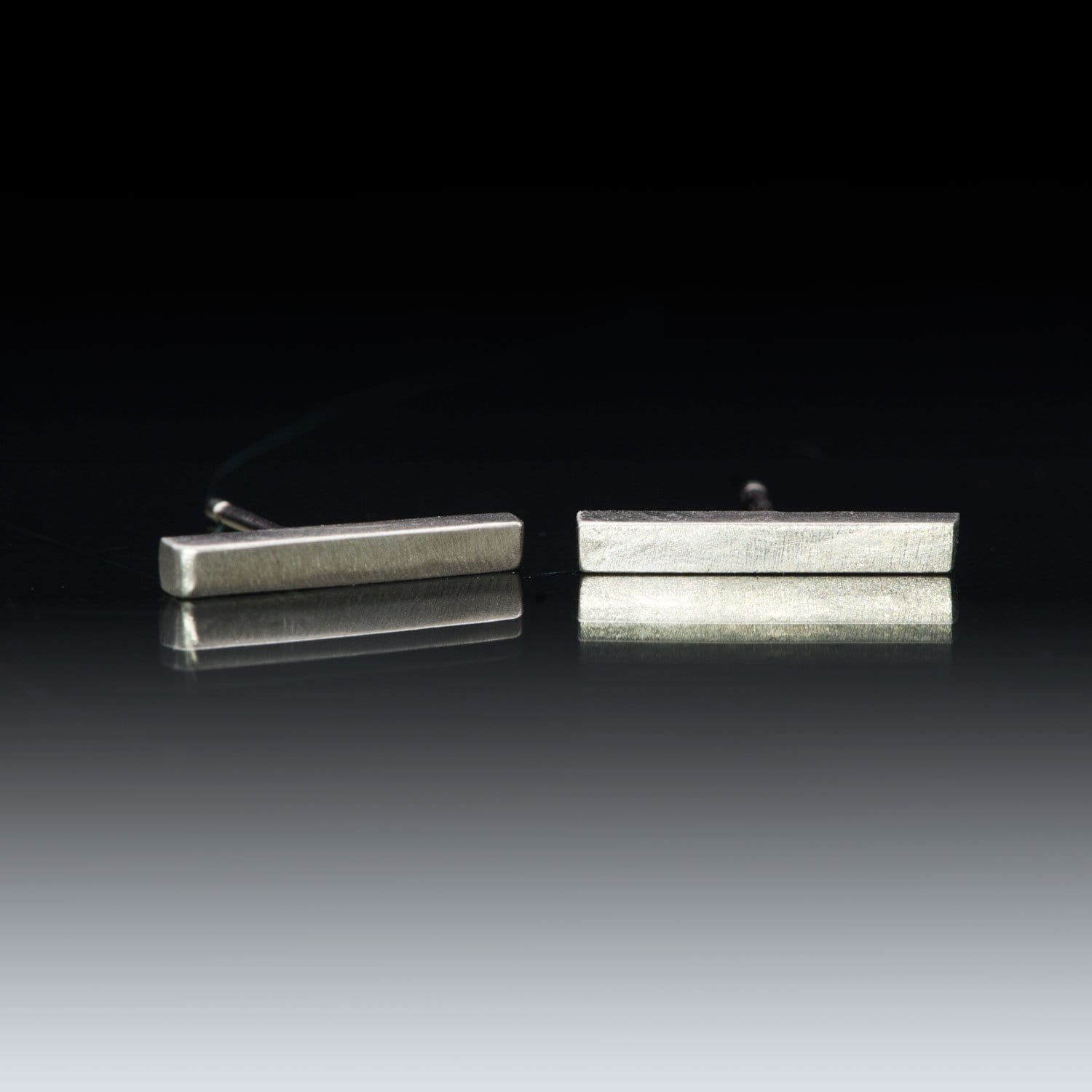 Palladium Bar Studs Earrings, Ready to Ship