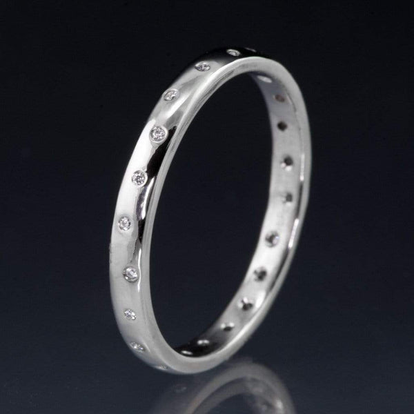 Narrow Random Flush Set Diamond Wedding Ring - by Nodeform
