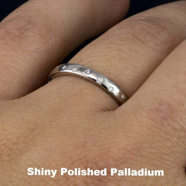 Narrow Random Flush Set Diamond Wedding Ring