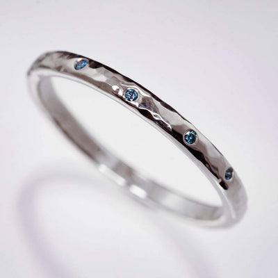Teal Diamond Wedding Ring Narrow Hammered Texture Wedding Band