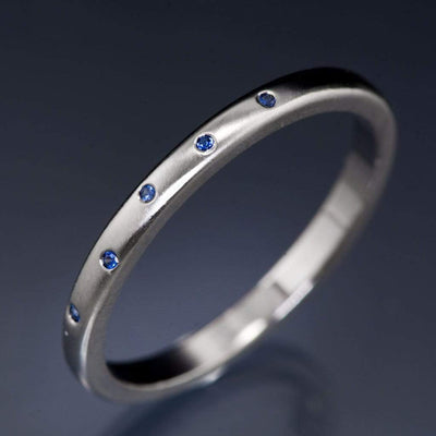 Narrow Random Flush Set Blue Sapphire Wedding Ring