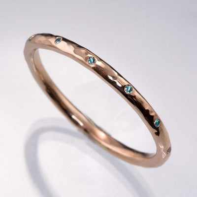 Skinny Teal Diamond Wedding Ring Thin Hammered Texture Wedding Band - by Nodeform