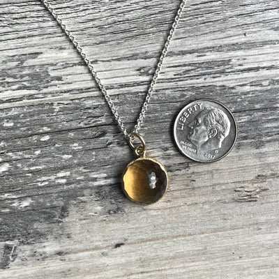 Rose Cut Citrine Necklace Yellow Gold Bezel Pendant with Sterling Silver Chain, Ready to ship