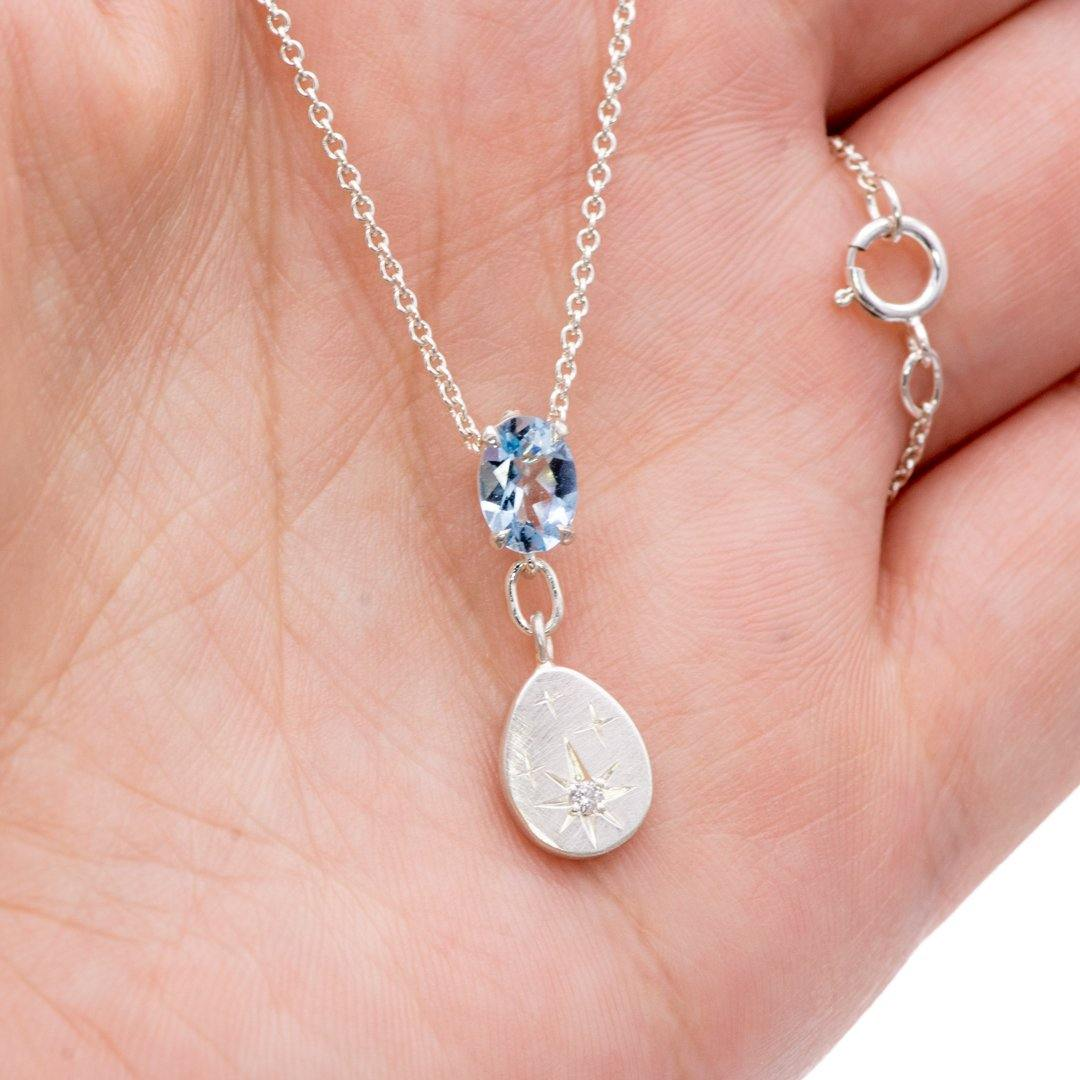 Oval Aquamarine & Star set Moissanite Sterling Silver Pendant Necklace {Ready to Ship} - Nodeform