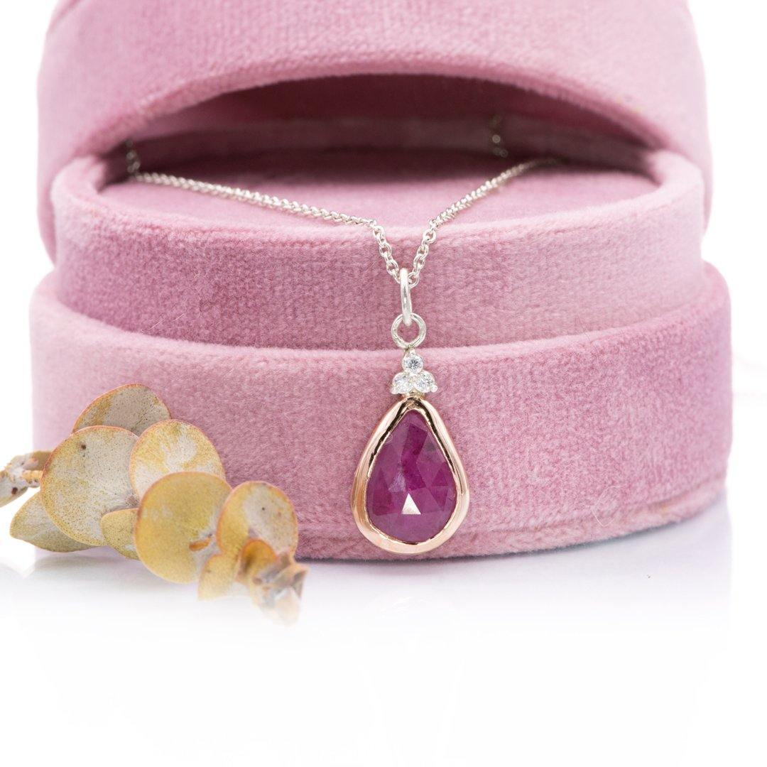 Pear Pink Rose Cut Sapphire & Moissanite 14k Rose Gold & Sterling Silver Pendant Necklace - Nodeform