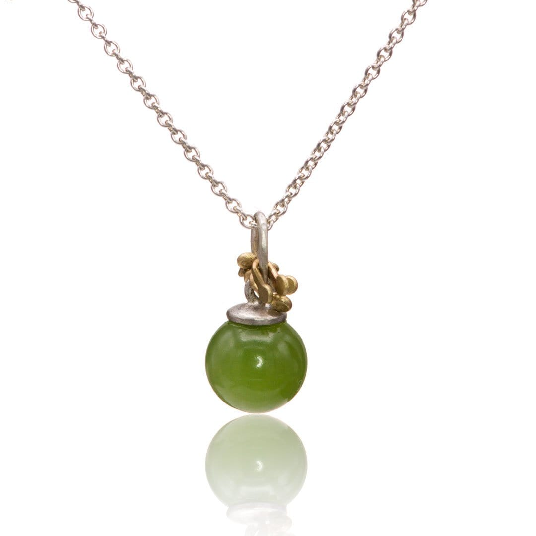 Jade Bead Gold Accented Sterling Silver Pendant Necklace, Ready to Ship