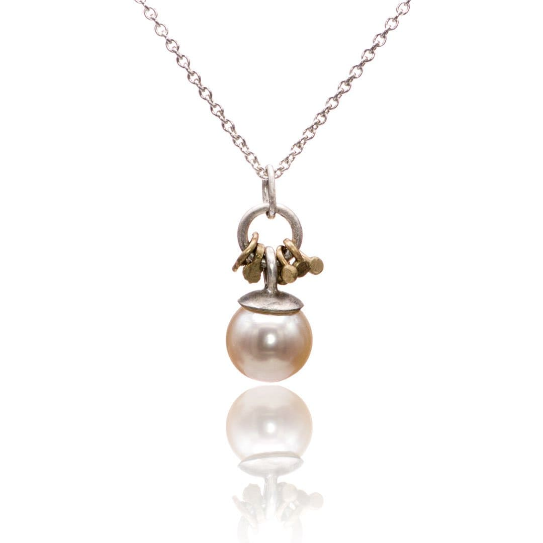 White Pearl Gold Accented Sterling Silver Pendant Necklace, Ready to Ship