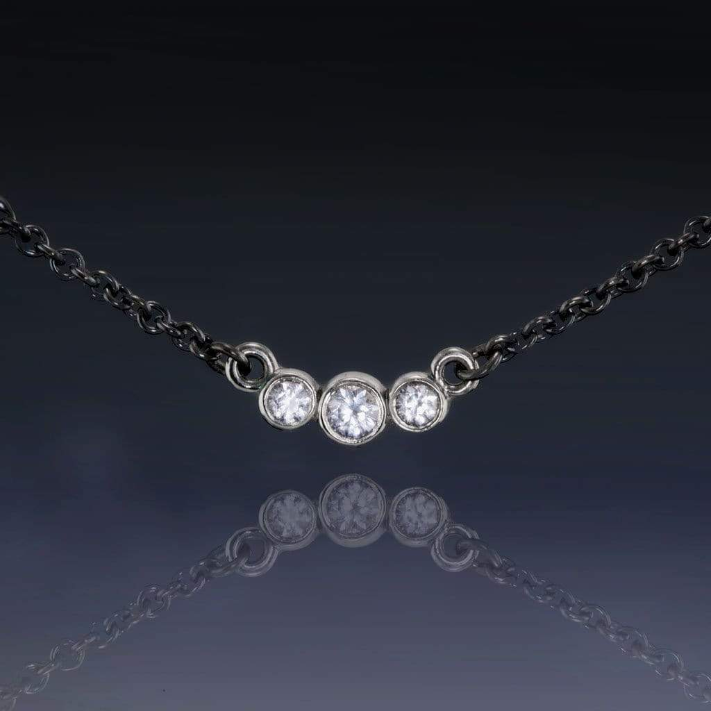 White Sapphire Graduated Bezel 14k White Gold Pendant Oxidized Sterling Silver Necklace