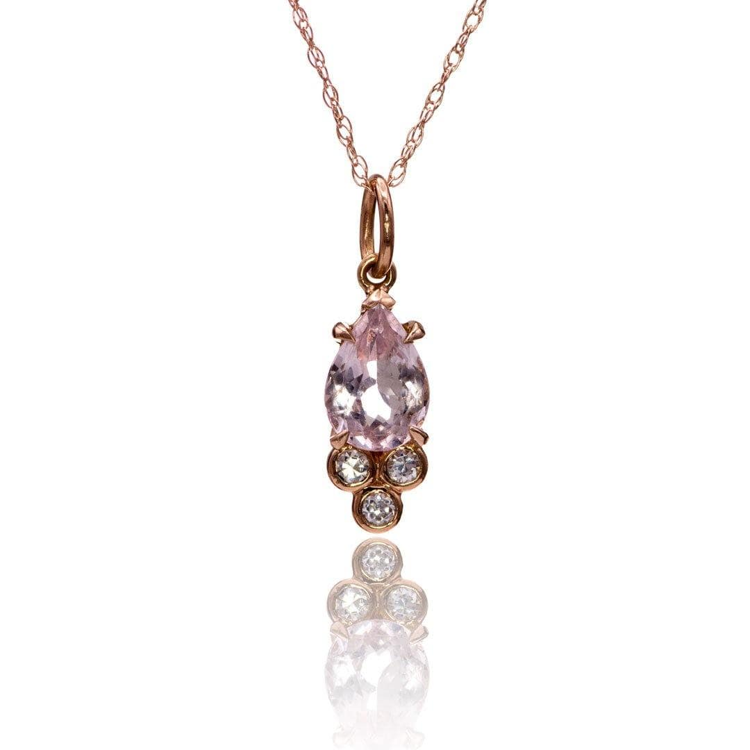 Accented Pear Morganite & Moissanite 14k Rose Gold Pendant Necklace, Ready to Ship