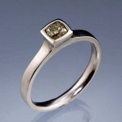 Olive green Fancy 0.35ct Radiant/ Cushion Cut Diamond Bezel Set Solitaire Engagement Ring