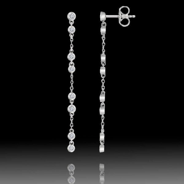 1/3CTW Diamond Bezel Set Long Chain Dangle Gold Stud Earrings