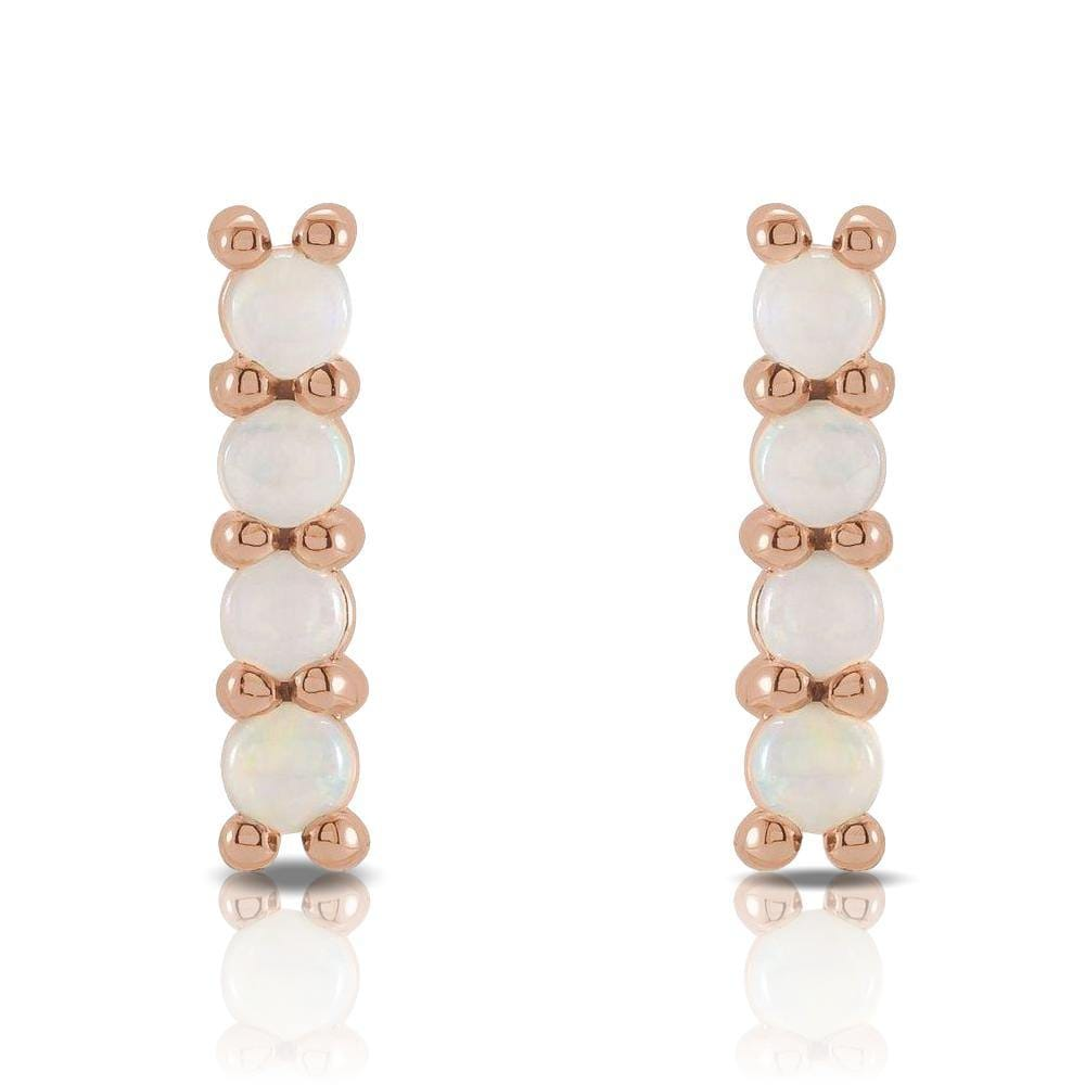 Opal Bar Studs Gold or Platinum Earrings
