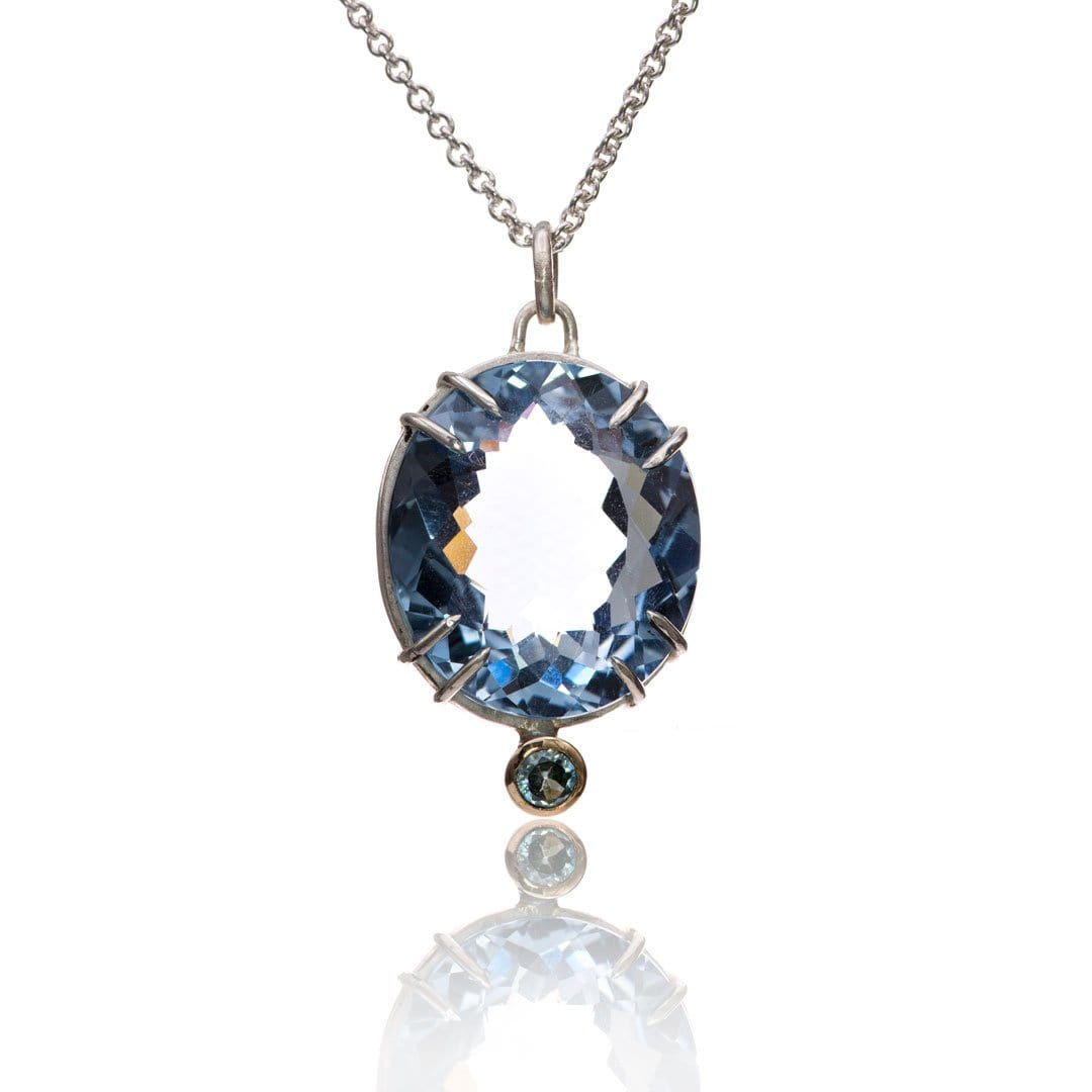 Oval Blue Lab Spinel & Aquamarinet Pendant Necklace, Ready to ship