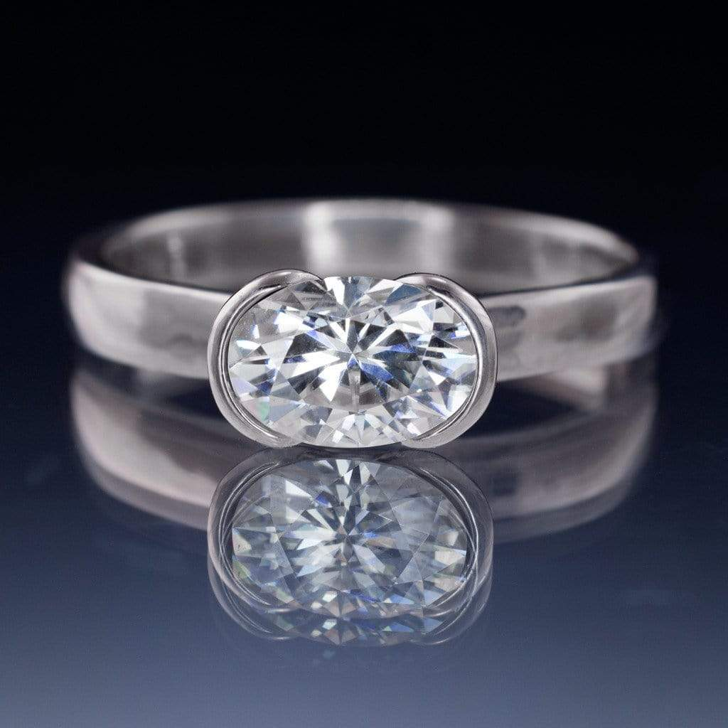 Oval Moissanite Ring Half Bezel Solitaire Engagement Ring  By Nodeform