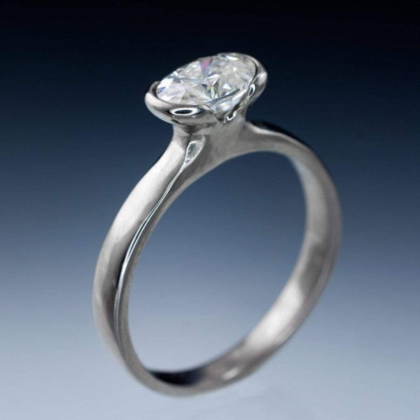 Oval Moissanite Ring Half Bezel Solitaire Engagement Ring