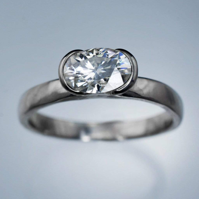 Sideways Oval Moissanite Ring Half Bezel Solitaire Engagement Ring