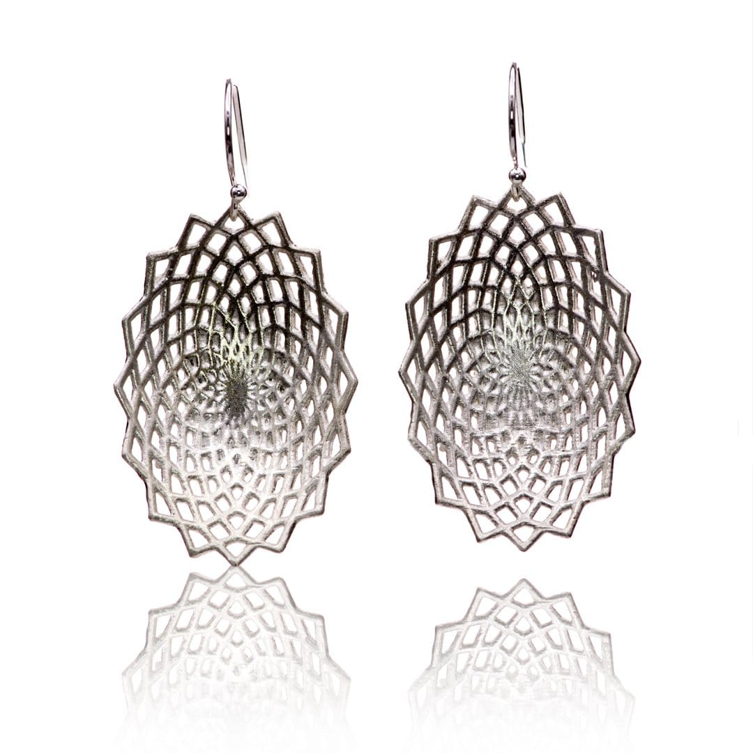 Lattice Sterling Silver Earrings, Ready to Ship