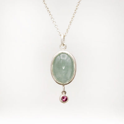 Oval Aquamarine & Pink Tourmaline Sterling Silver Pendant Necklace, Ready to ship