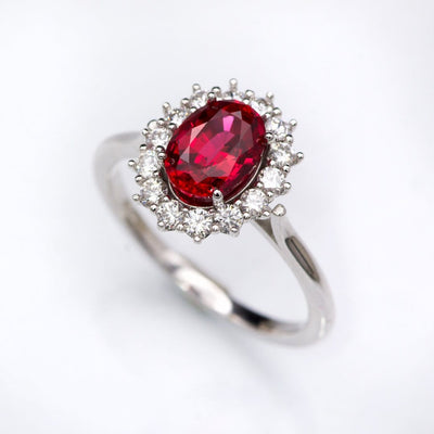 Oval Chatham Ruby Prong Set Halo Engagement Ring