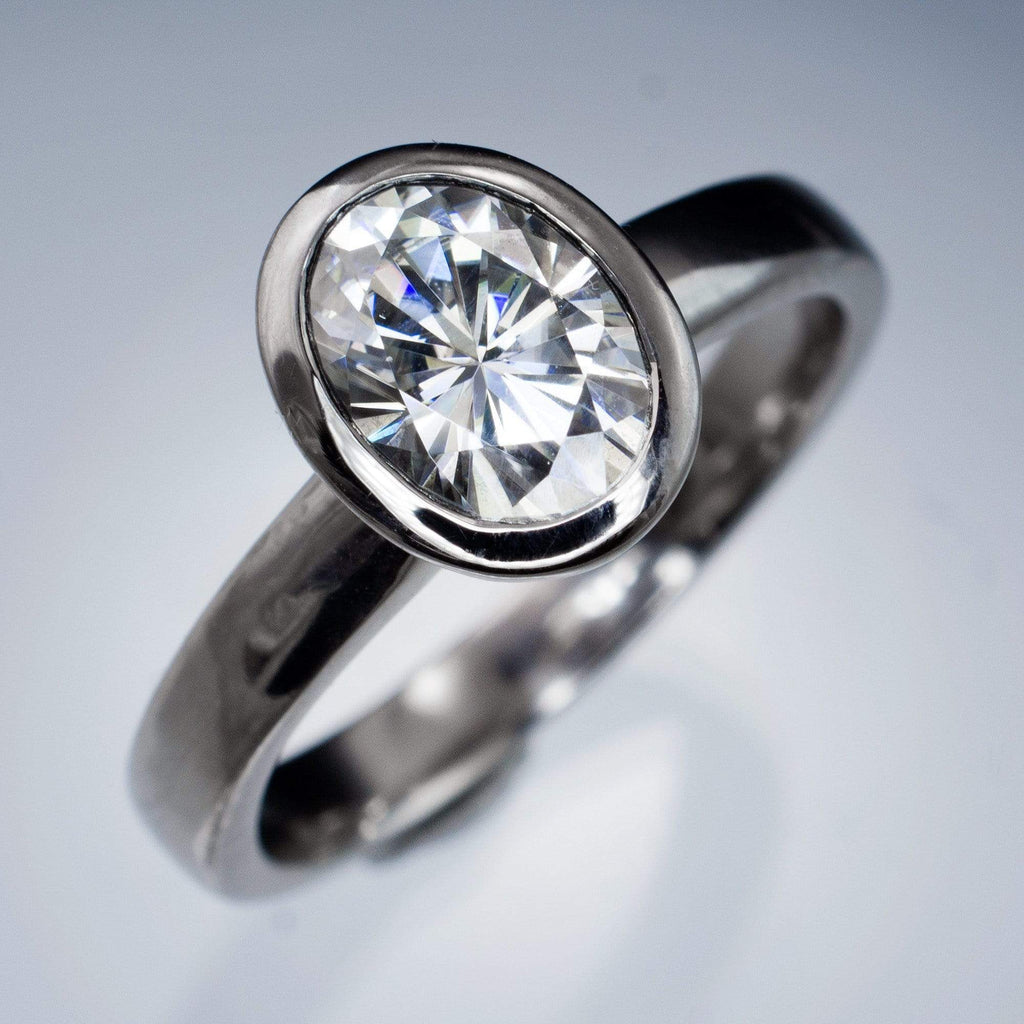 Oval Moissanite Ring Bezel Solitaire Engagement Ring  By Nodeform