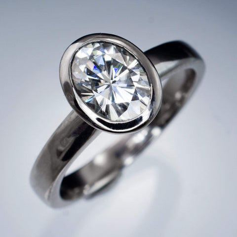 Oval Moissanite Ring Bezel Solitaire Engagement Ring - by Nodeform