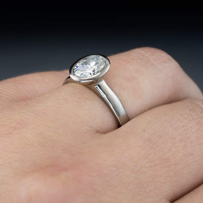 Oval Moissanite Ring Bezel Solitaire Engagement Ring